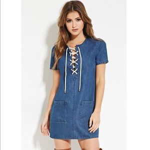 Forever 21 Denim Lace Up Mini Dress